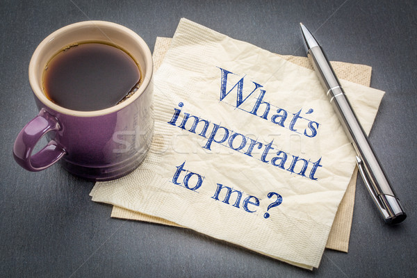 What is important to me? A question on napkin. Stock photo © PixelsAway
