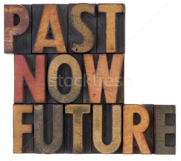Pasado ahora futuro tiempo palabras vintage Foto stock © PixelsAway