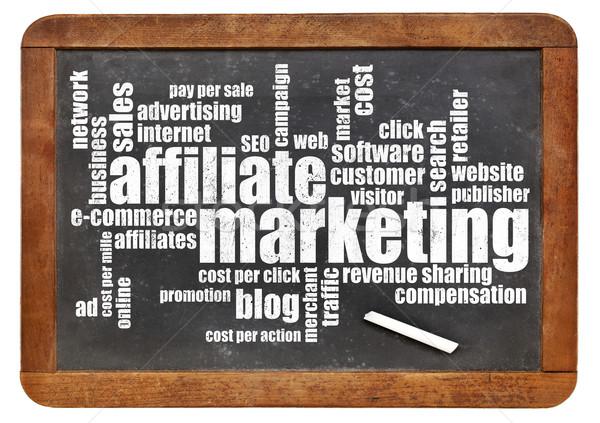 Foto stock: Marketing · nuvem · da · palavra · vintage · lousa · isolado · branco