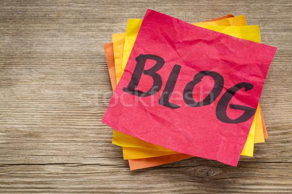 Blog szó öntapadó jegyzet hálózat Stock fotó © PixelsAway