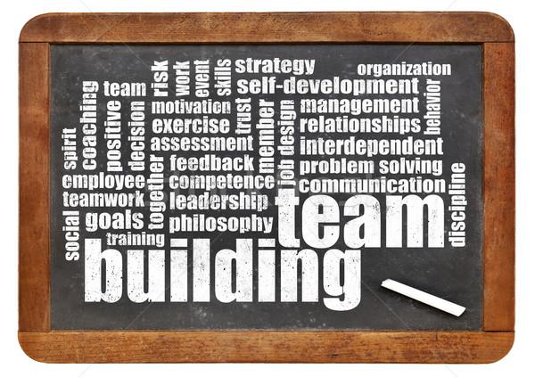 Foto d'archivio: Team · building · word · cloud · vintage · lavagna · business · formazione