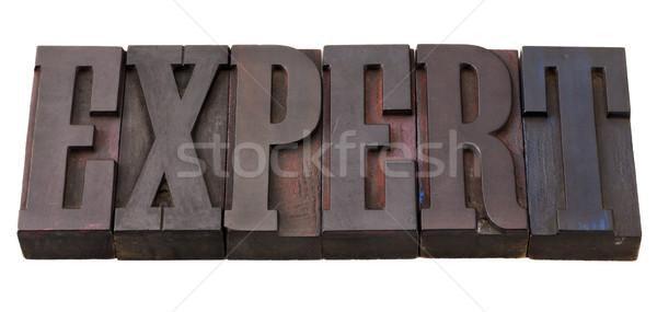 Expert woord type antieke houten Stockfoto © PixelsAway