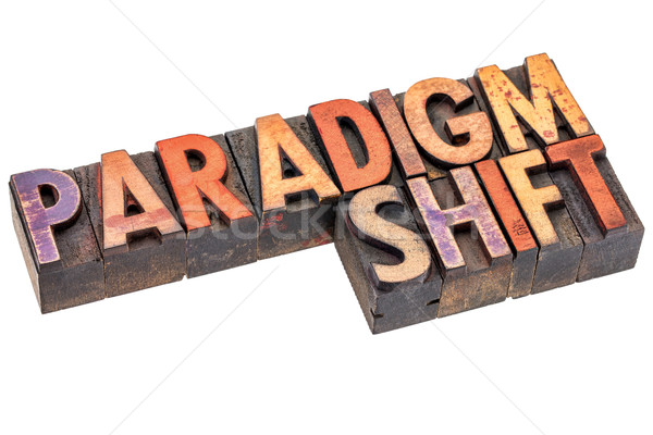 paradigm shift in vintage wood type Stock photo © PixelsAway