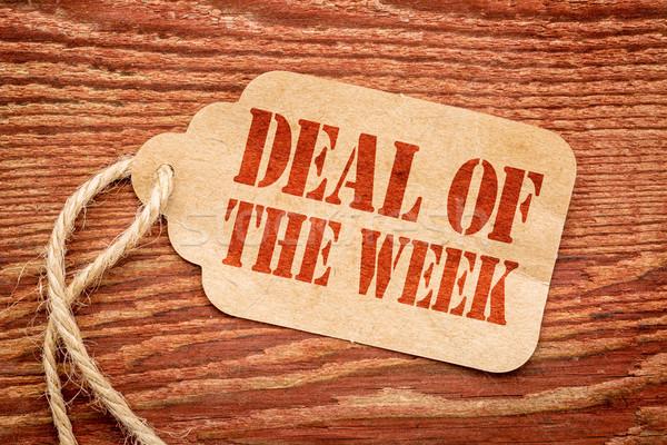 Anlaşma hafta imzalamak fiyat etiket kâğıt Stok fotoğraf © PixelsAway