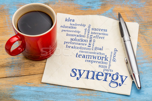synergy word cloud on napkin Stock photo © PixelsAway
