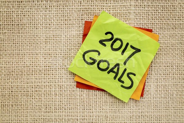2017 New Year goals on sticky note Stock photo © PixelsAway