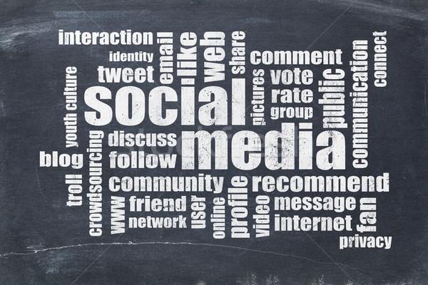 social media word cloud on blackboard Stock photo © PixelsAway