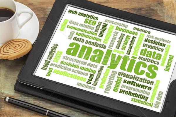 Analitika szófelhő digitális tabletta adat elemzés Stock fotó © PixelsAway