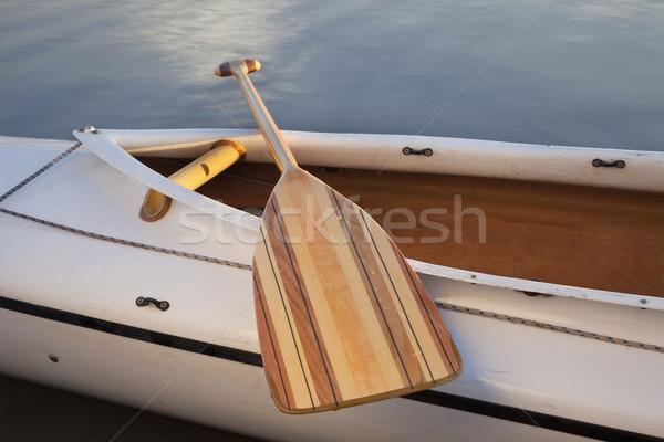 Canoa legno cabina di pilotaggio spedizione acqua barca Foto d'archivio © PixelsAway