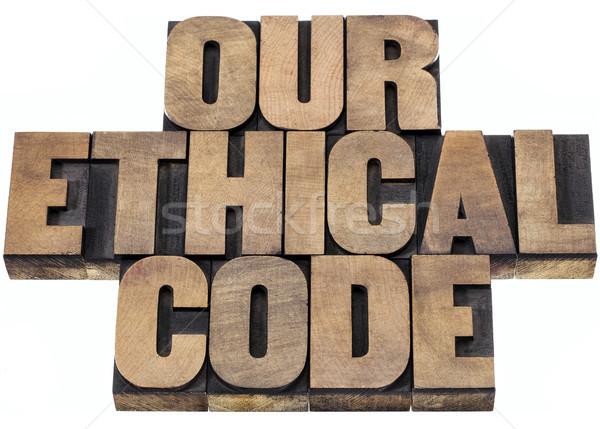 Etikus kód izolált szöveg magasnyomás fa Stock fotó © PixelsAway