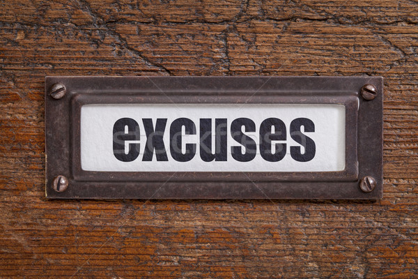 Stock photo: excuses - file cabinet label