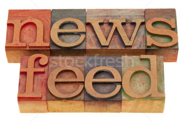 Haber sözler bağbozumu ahşap bloklar Stok fotoğraf © PixelsAway