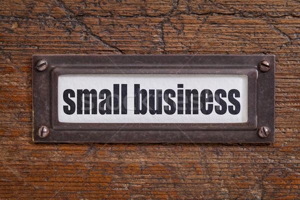 Empresa de pequeno porte etiqueta arquivo bronze grunge Foto stock © PixelsAway