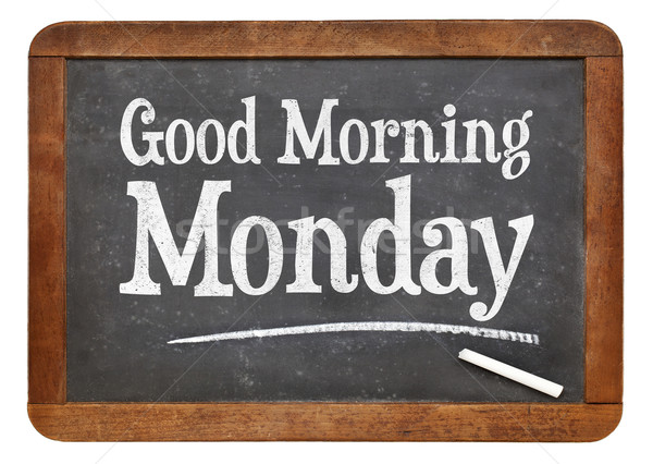 Good Morning Monday on blackboard Stock photo © PixelsAway
