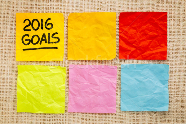 2016 New Year goals on sticky notes Stock photo © PixelsAway