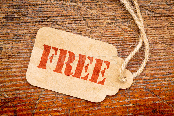Libre signo papel precio etiqueta rústico Foto stock © PixelsAway