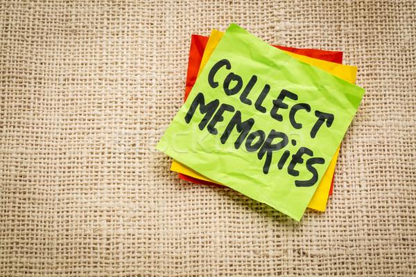 Emlékek öntapadó jegyzet tanács emlékeztető zsákvászon vászon Stock fotó © PixelsAway