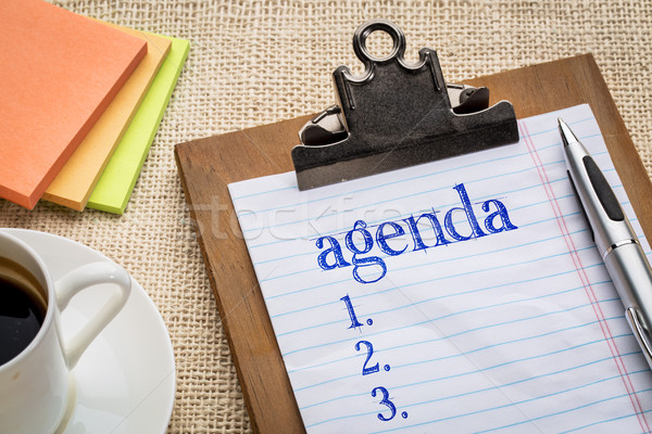 agenda list on clipboard and coffee Stock photo © PixelsAway
