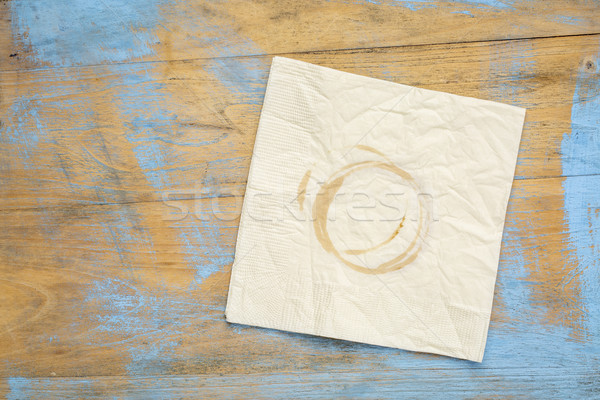 napkin with coffee stains on wood Stock photo © PixelsAway