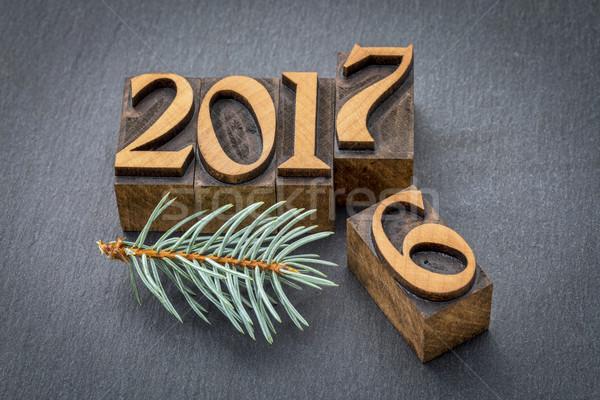 new year 2017 in wood type Stock photo © PixelsAway