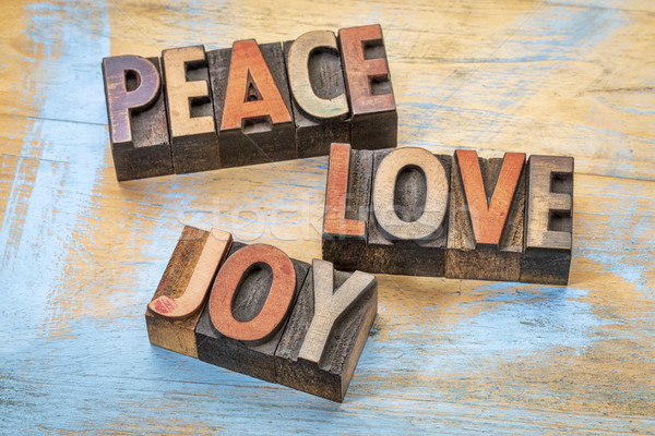 peace, love and joy in wood type Stock photo © PixelsAway