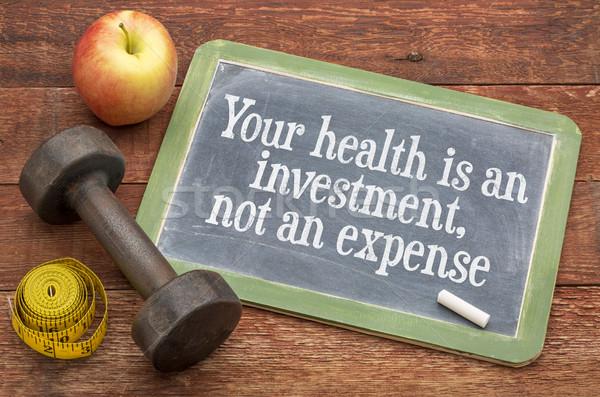 Zdrowia inwestycja nie koszt wellness tablicy Zdjęcia stock © PixelsAway