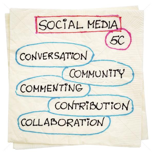 Sosyal medya peçete karalama konuşma topluluk işbirliği Stok fotoğraf © PixelsAway