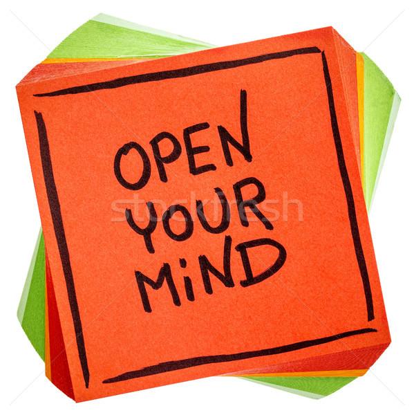 Open mente consiglio promemoria nota calligrafia Foto d'archivio © PixelsAway