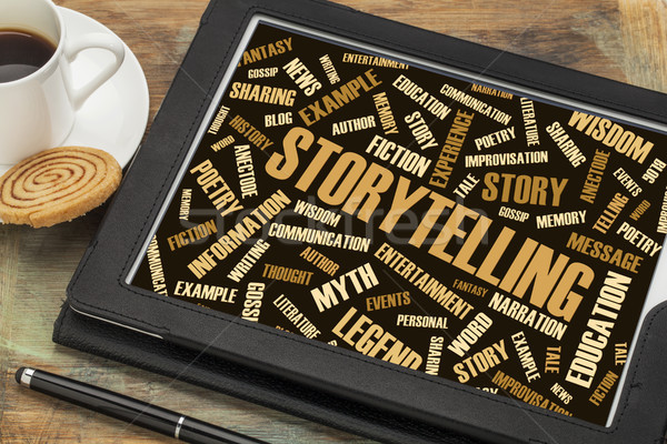 Stock photo: storytelling  and story word cloud on digital tablet