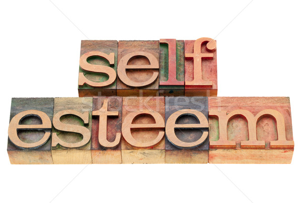 Auto-estima isolado texto vintage madeira Foto stock © PixelsAway