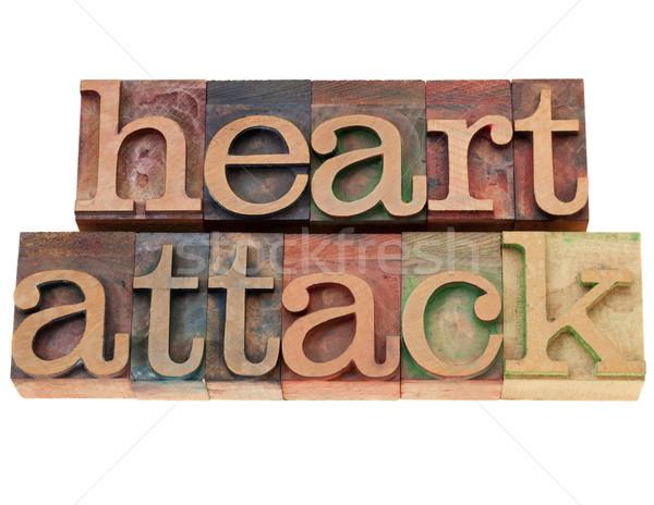 Hartaanval tekst type geïsoleerd woorden Stockfoto © PixelsAway