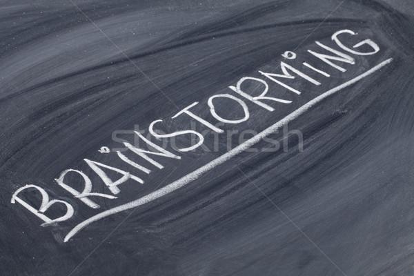 Zdjęcia stock: Burza · mózgów · słowo · tablicy · biały · kredy · pismo