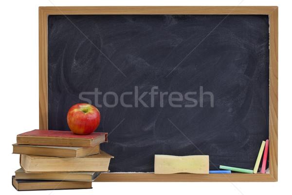 Tafel alten Lehrbücher Apfel Bildung weiß Stock foto © PixelsAway