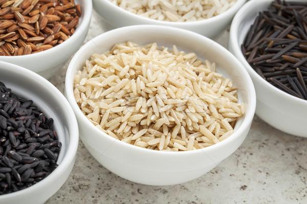 Kahverengi basmati pirinç tahıl küçük çanak Stok fotoğraf © PixelsAway