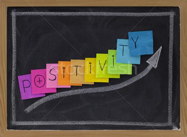 Positivité tableau noir couleur sticky notes blanche dessin à la craie Photo stock © PixelsAway