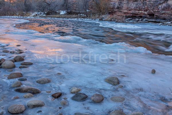 winter dusk over mountain river Stock photo © PixelsAway