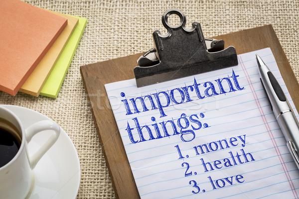 важный вещи список буфер обмена деньги здоровья Сток-фото © PixelsAway