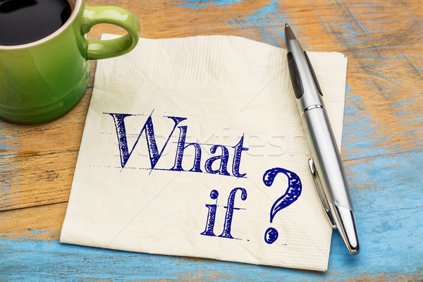 Stock photo: What if question on napkin