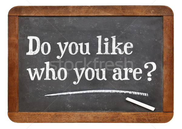 Do you like who you are? Blackboard sign. Stock photo © PixelsAway