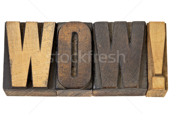 Wow madeira tipo isolado palavra vintage Foto stock © PixelsAway