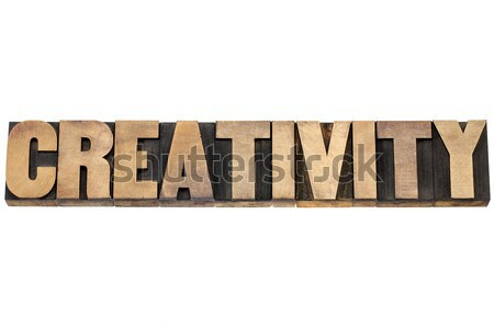 Stock photo: creativity word in wood type