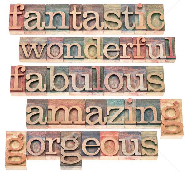 Pozytywny słowa typografii fantastyczny wspaniały bajeczny Zdjęcia stock © PixelsAway