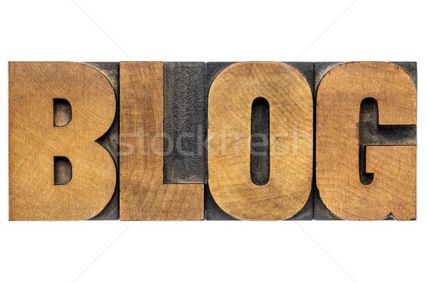 Foto stock: Blog · palavra · madeira · tipo · isolado · texto