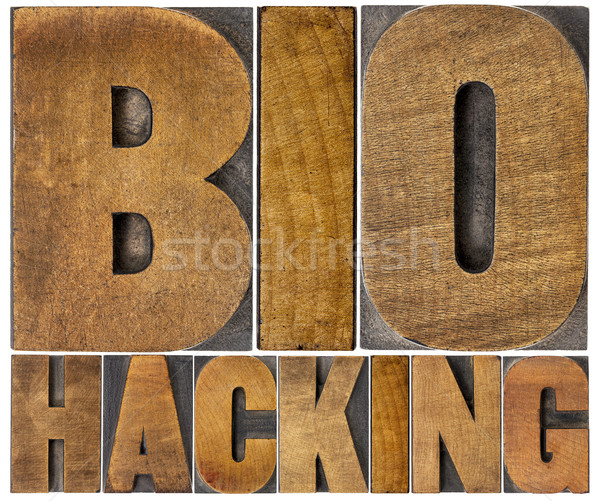 Stock photo: biohacking word abstract in wood type