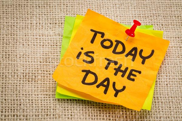 Dzisiaj dzień przypomnienie karteczkę konopie płótnie Zdjęcia stock © PixelsAway