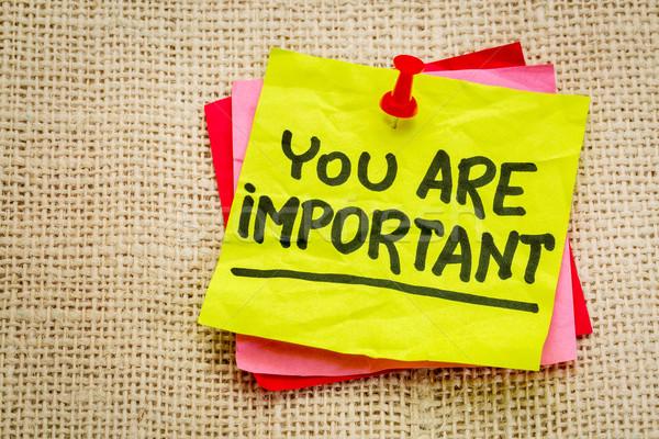 Importante lembrete nota positivo confirmação Foto stock © PixelsAway