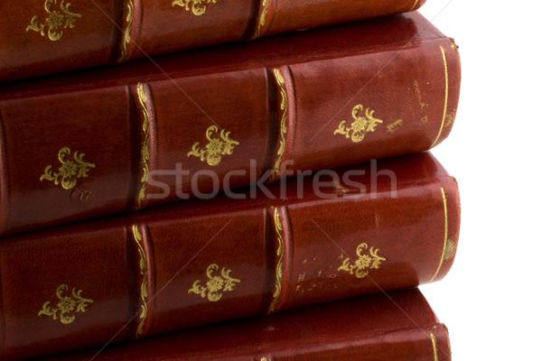 Stockfoto: Oude · boeken · Rood · leder · kunst