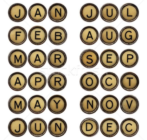 Dodici mesi simboli macchina da scrivere tasti dicembre Foto d'archivio © PixelsAway