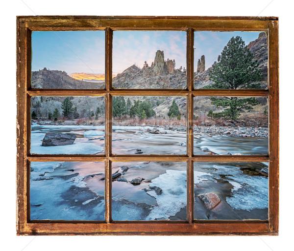 ストックフォト: ウィンドウ · 表示 · 山 · 川 · 旅行 · グリーティングカード