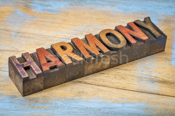 harmony word in wood type Stock photo © PixelsAway